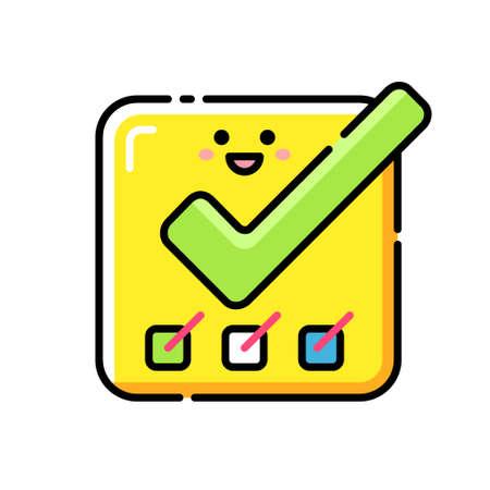 Smiley erledigte Aufgabensymbol in linearer Farbdesign-Vektorillustration Vektorgrafik