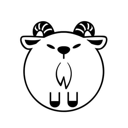Puffy goat vector illustration in solid color design