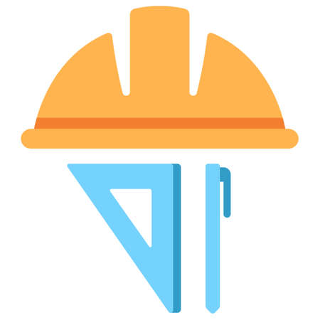 Hat Engineer icon in flat color design vector illustration