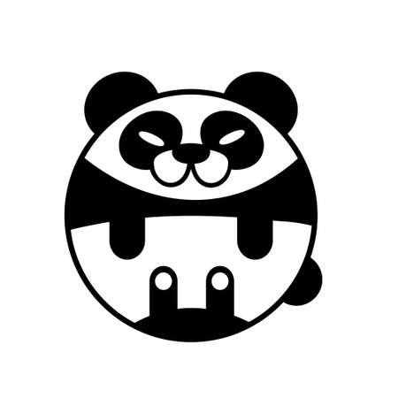 Puffy panda vector illustration in solid color design