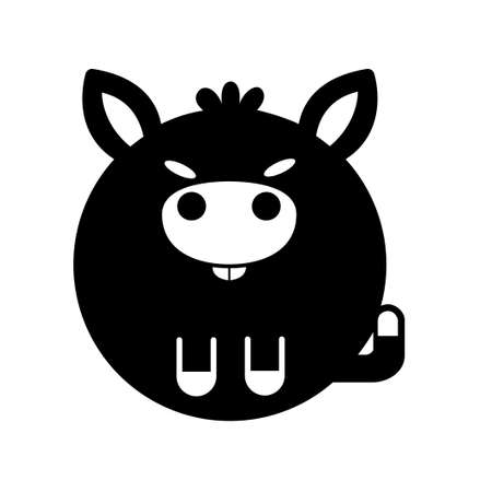 Puffy donkey vector illustration in solid color design