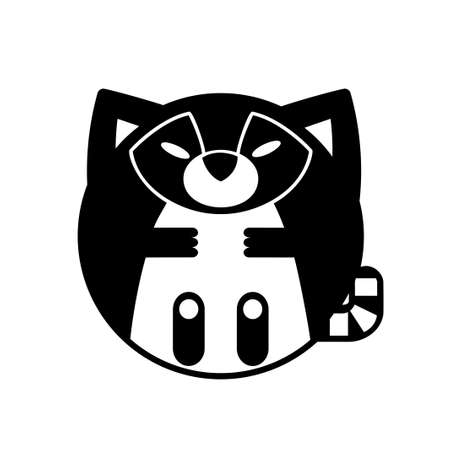 Puffy raccoon vector illustration in solid color design Çizim