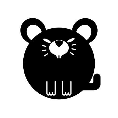 Puffy rat vector illustration in solid color design
