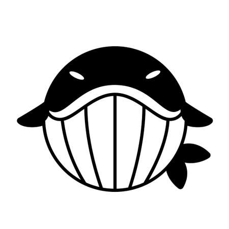 Puffy whale vector illustration in solid color design Çizim