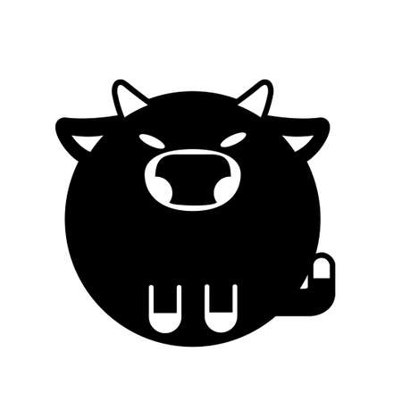 Puffy bull vector illustration in solid color design