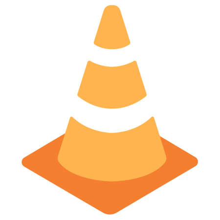 Traffic Cone icon in flat color design vector illustration Ilustração Vetorial