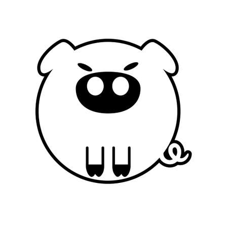 Puffy pig vector illustration in solid color design