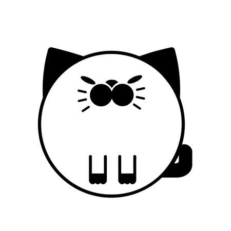 Puffy Cat vector illustration in solid color design