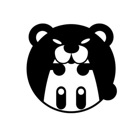 Puffy bear vector illustration in solid color design
