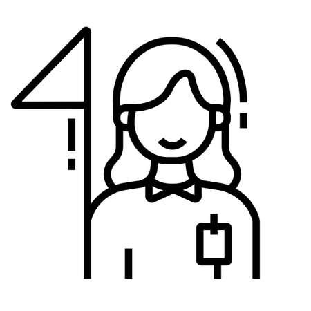 Frau mit Flaggenvektorillustration im Linienstrichdesign