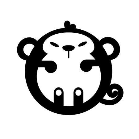 Puffy monkey vector illustration in solid color design Çizim