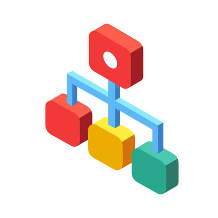 Flussdiagramm-Symbol-Vektor-Illustration im isometrischen Design