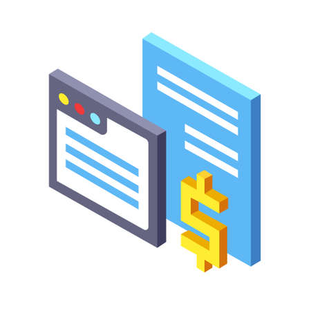 Website interface with dollar icon vector illustration in isometric design