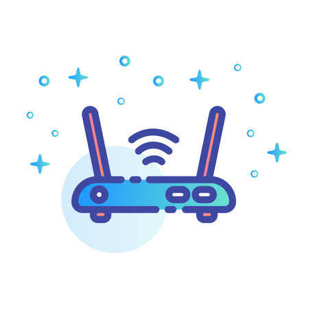 A router vector illustration in line color design