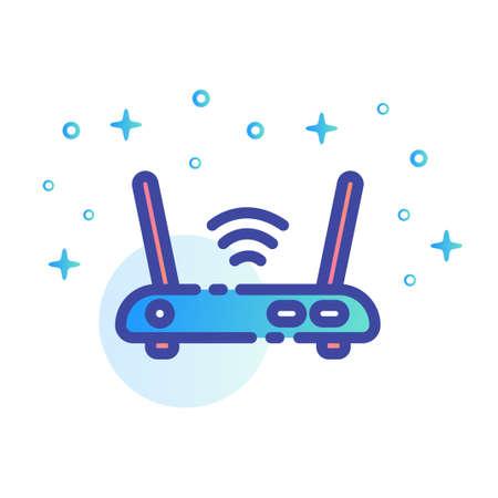 Eine Router-Vektor-Illustration im Linienfarbdesign Vektorgrafik
