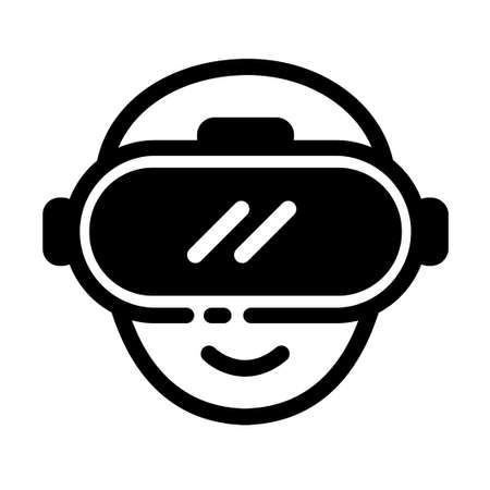 Head icon with VR glass vector illustration in solid color design Çizim