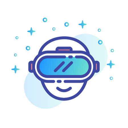 Head icon with VR glass vector illustration in line color design