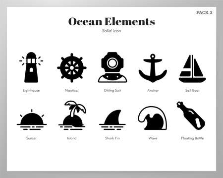 Ocean vector illustration in solid color design