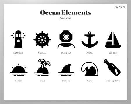 Ocean vector illustration in solid color design