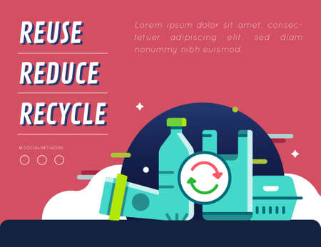 Recycle plastic products campaign graphic content layout Illustration