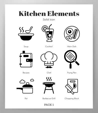 Kitchen vector illustration in solid color design