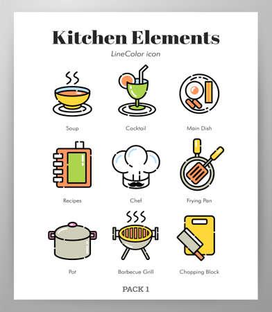 Kitchen vector illustration in line color design