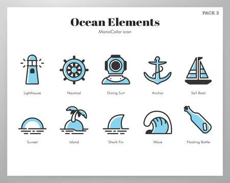 Ocean vector illustration in mono color design