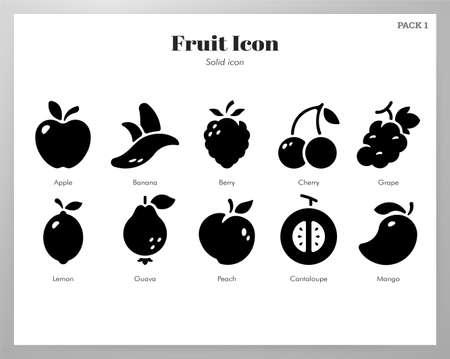 Fruit vector illustration in solid color design Illusztráció