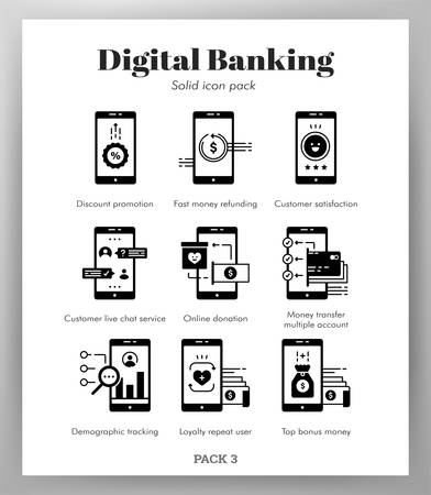 Digital banking vector illustration in solid color design