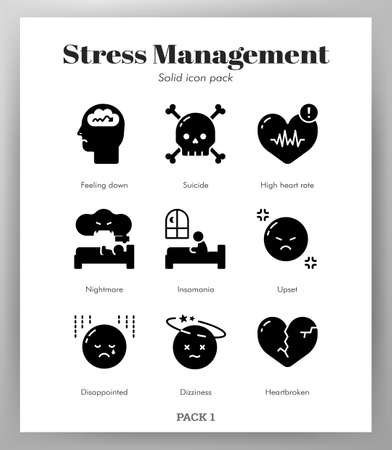 Stress management vector illustration in solid color design Illustration