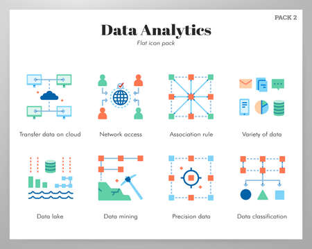 Data analytics vector illustration in flat color design Ilustrace