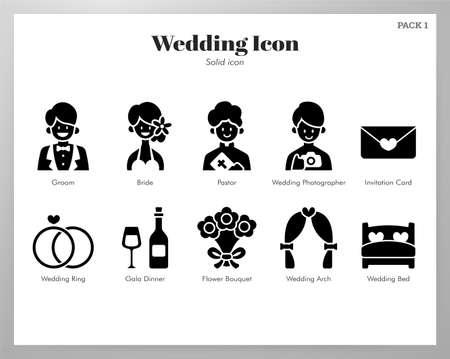 Wedding vector illustration in solid color design