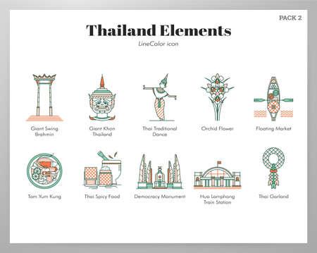 Ilustración de vector de Tailandia en diseño de color de línea