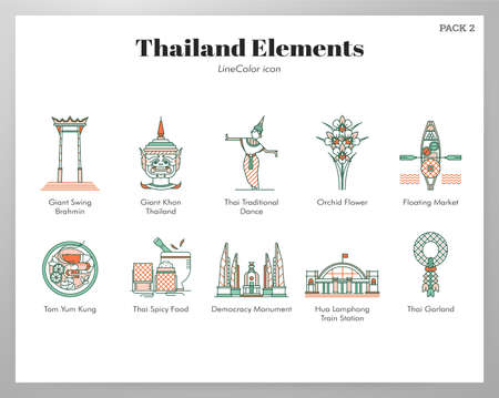 Thailand vector illustration in line color design Ilustração
