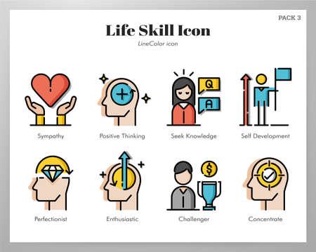 Life skill vector illustration in line color design