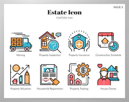 Illustration vectorielle de l'immobilier dans la conception de la couleur de la ligne Vecteurs