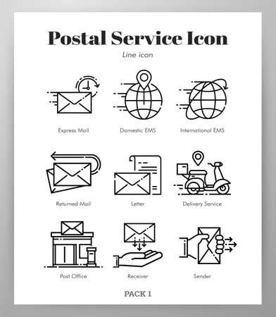 Ilustración de vector de servicio postal en diseño de trazo de línea Ilustración de vector