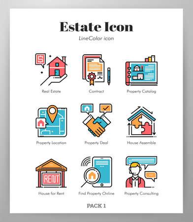 Estate vector illustration in line color design