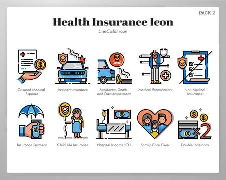 Health insurance vector illustration in line color design