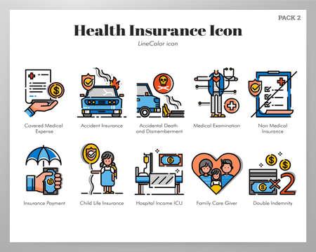 Health insurance vector illustration in line color design
