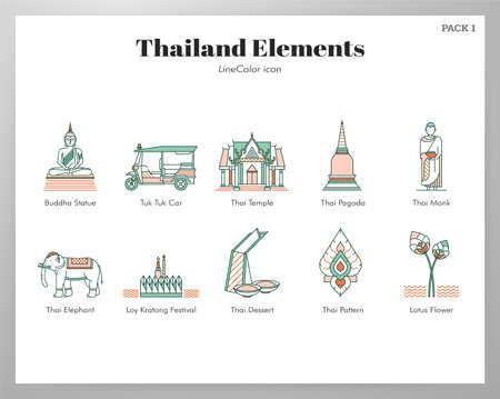 Thailand vector illustration in line color design  イラスト・ベクター素材