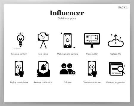 Influencer vector illustration in solid color design