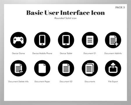 Basic user interface vector illustration in rounded solid design