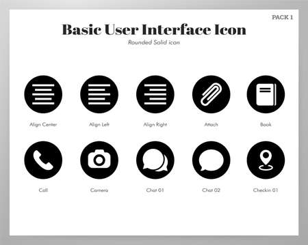 Basic user interface vector illustration in rounded solid design Stockfoto - 128284989