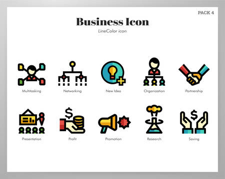 Business vector illustration in line color design