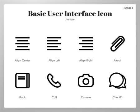 Basic user interface vector illustration in line stroke design