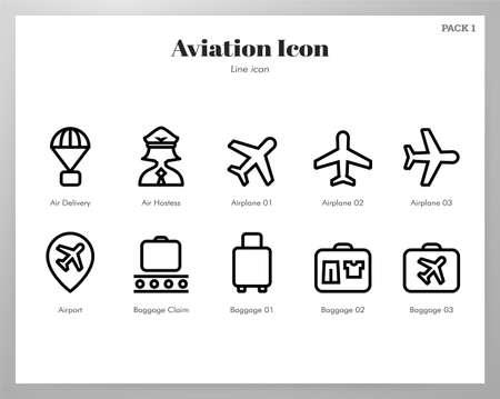 Aviation vector illustration in line stroke design