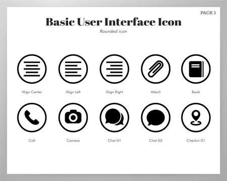 Basic user interface vector illustration in rounded line design Stock Illustratie