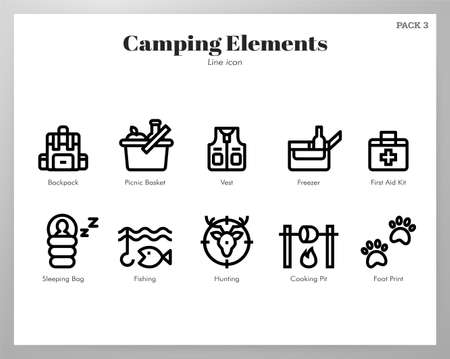Camping vector illustration in line stroke design