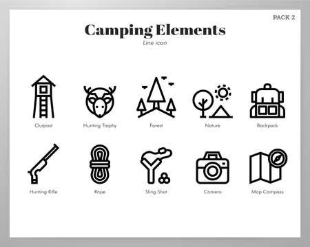 Camping vector illustration in line stroke design